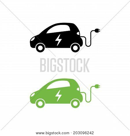 Electric Car With Electrical Charging Cable Icon. Hybrid Vehicle Symbol. Eco Friendly Auto Or Electr