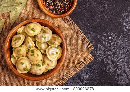 Homemade Meat Dumplings - Russian Pelmeni.