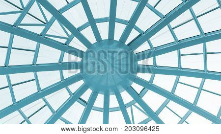 Glass dome of a modern building. View from the inside of the room. Light construction of transparent roof made of round steel tubes