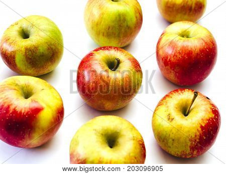 Group of apples on the white isoalted background