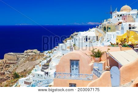 View of Oia, Santorini. Santorini is one of the Cyclades islands in the Aegean Sea. It is the most romantic destinations in the Greek islands