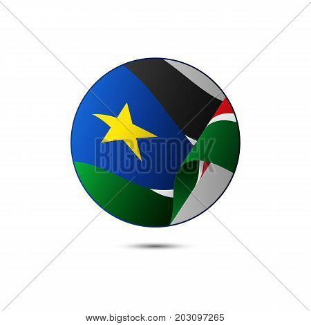 South Sudan flag button with shadow on a white background. Vector illustration.