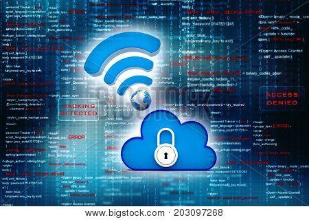 3d rendering Cloud computing concept, cloud network, cloud storage