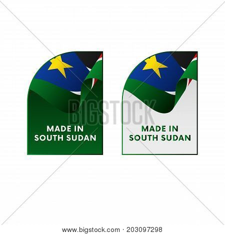 Stickers Made in South Sudan. Vector illustration.