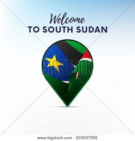 Flag of South Sudan in shape of map pointer or marker. Welcome to South Sudan. Vector illustration.