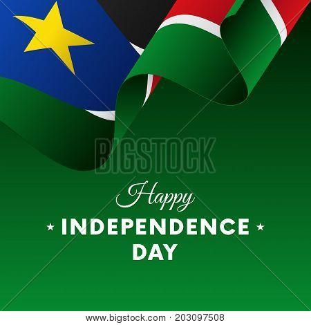 Banner or poster of South Sudan independence day celebration. Waving flag. Vector illustration.