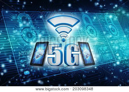 3d rendering 5G Network, 5G Connection with smartphone