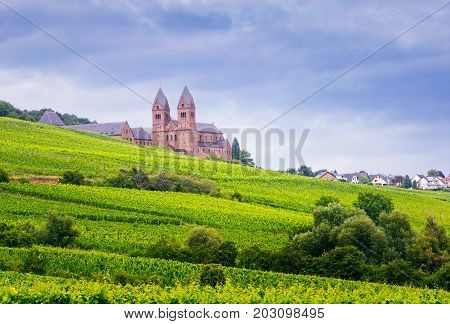 Benedictine Abbey of St. Hildegard UNESCO World Heritage Site and surrounding vineyards in Rudesheim am Rhein.