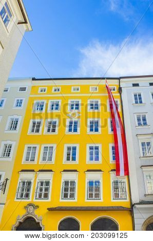 Birthplace of Mozart in Salzburg at Austria