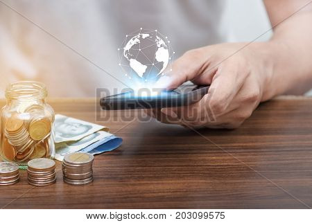 Online Banking And Mobile Banking Concept