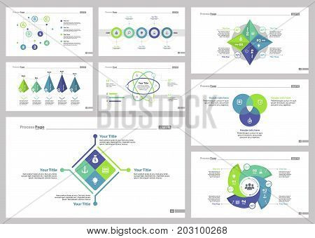 Infographic design set can be used for workflow layout, diagram, annual report, presentation, web design. Business and consulting concept with process, bar, Venn and percentage charts.