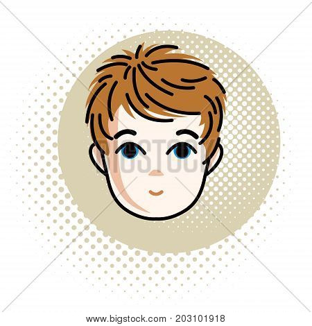 Cute boy face human head. Vector redhead character positive toddler face features.
