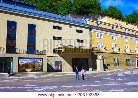 Salzburg, Austria - May 01, 2017: The on Salzburg University facade at Austria