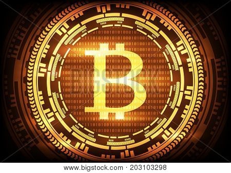 Abstract technology bitcoins logo on binary code and gear gold background . Vector illustration bitcoin mining internet online technology concept.