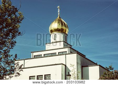 Saint Wenceslas orthodox cathedral in Brno Czech republic. Religious architecture. Old photo filter.