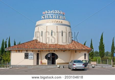 TERJOLA, GEORGIA - AUGUST 16, 2013: The wine shop of the company
