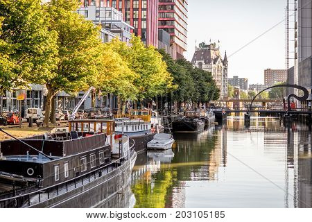ROTTERDAM, NETHERLANDS - August 06, 2017: View on the Scheepsmakers haven during the sunny morning in Rotterdam