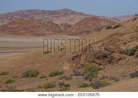 Arid landscape alongside the Pan American Highway (Ruta 5) running through the Atacama in northern Chile.