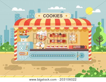 Stock vector illustration cartoon characters child pupil, schoolboy little redhead boy manufactures of baking cookies for cooking business sale muffins, stall meals, food, school task snack flat style
