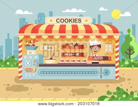 Stock vector illustration cartoon characters child pupil, schoolboy little seller boy manufactures of baking cookies for cooking business sale muffins, stall meals, food, school task snack flat style