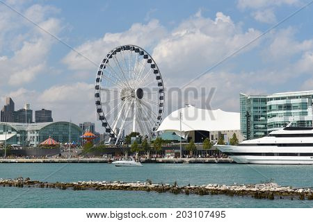 CHICAGO, ILLINOIS - SEPTEMBER 5, 2016: Centennial Wheel at Navy Pier. The attraction is seen from Lake Michigan.