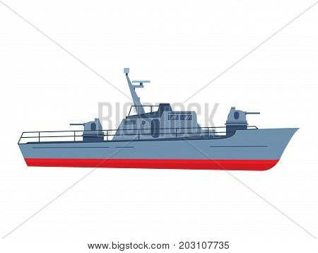 The military boat in flat style battleship.Modern fighting patrol ship. Boundary gun boat. Naval frigate.Warship coastal guard.Navy armored boat.Gun automatic turret.Armoured vessel.Military ship