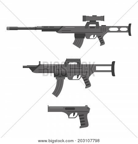 A set of sniper rifle, the assault rifle and the gun in flat style Firearms a vector in flat style.Automatic rifle, machine gun.collection of weapons white background.Weapon concept for your design