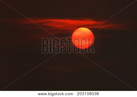 Beautiful Red Sunset with clouds for background
