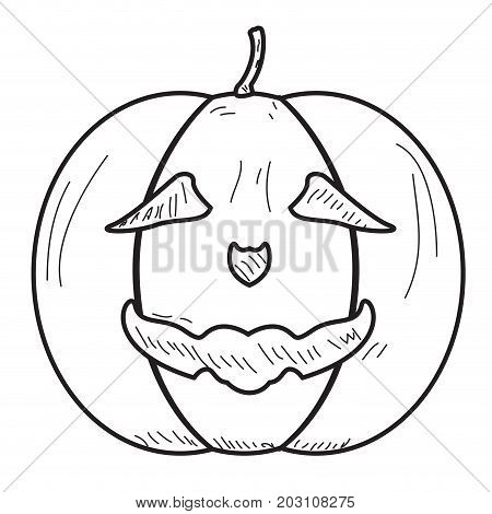 Isolated vintage halloween jack o lantern, Vector illustration
