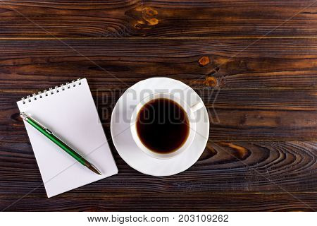 Blank Pad of Paper ready for your own text Pen Coffee