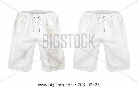 Pare of dirty and clean white shorts realistic vector isolated on white background. Mans clothing before after washing, dirt and stains removal concept for landry, dry-cleaning service, detergent ad