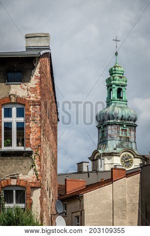 Tall bell tower of the Church of the Sacred Heart of Jesus in Bydgoszcz, Poland