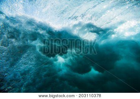 Wave texture in underwater. Ocean in underwater