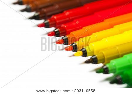Gradient from open felt tip pens. Close-up. A bright picture on the theme of drawing, education, school, creativity