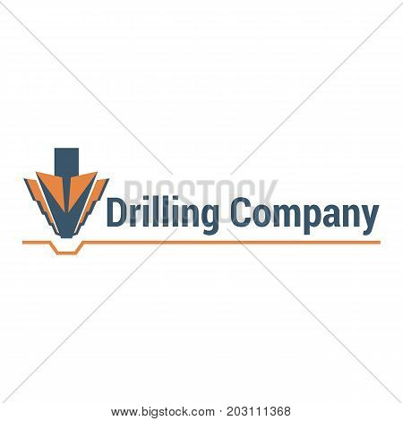 Vector logo template for drilling company. Illustration of drill bit isolated on white background. Geological prospecting icon. EPS10.
