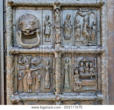Detail of the ancient bronze Magdeburg Gates of St. Sophia Cathedral in Veliky Novgorod Russia 1153 year