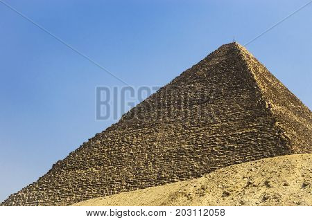 Pyramid of Cheops against the sky, valley of the kings