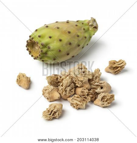 Heap of dried prickly pear flowers on white background