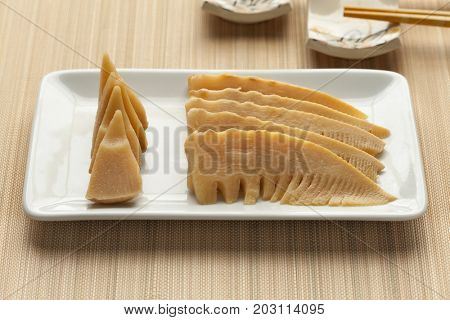 Japanese simmered young bamboo shoots on a dish