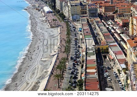 View of embankment and old town of Nice French Riviera France