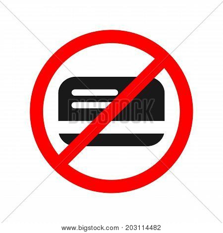 No card allowed sign. Only cash flat vector icon.