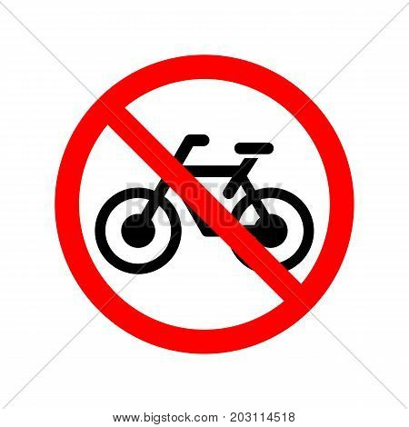 No bicycle allowed simple slat vector sign.