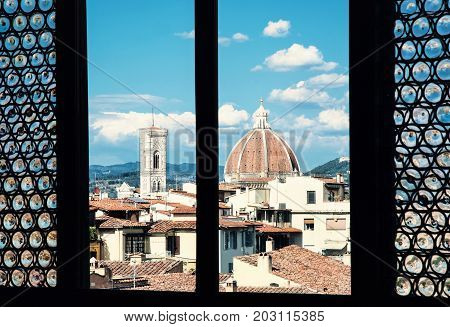 Cattedrale di Santa Maria del Fiore (Cathedral of Saint Mary of the Flower) is the main church of Florence. Tuscany Italy.