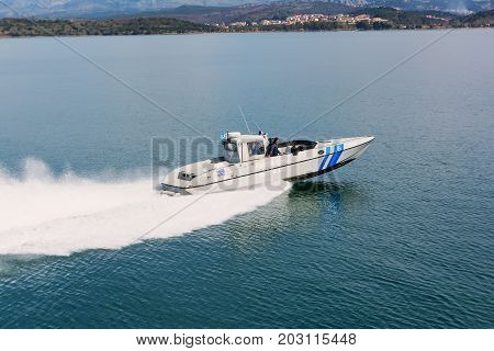 IGOUMENITSA, GREECE - MARCH 3, 2017: A Greek coast guard ship on patrol near Igoumenitsa port.