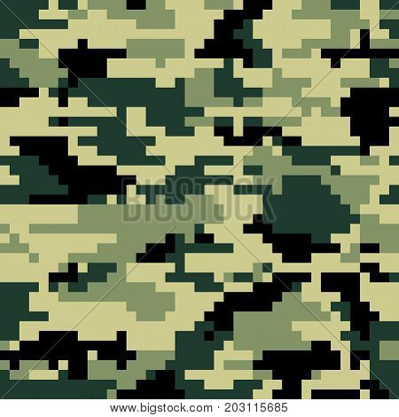 Digital pixel camouflage seamless pattern. Vector Texture in jungle colour