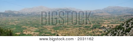 Panoramic View Of Lasithi Plateau In Crete