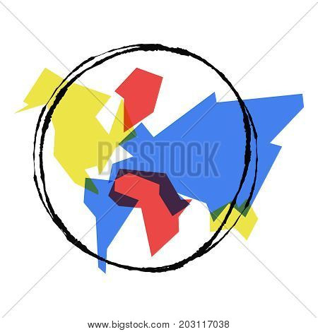 Abstract World Map Hand Drawn Earth Outline Art