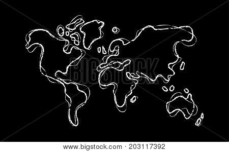 World Map Outline Concept Hand Drawn Sketch Template