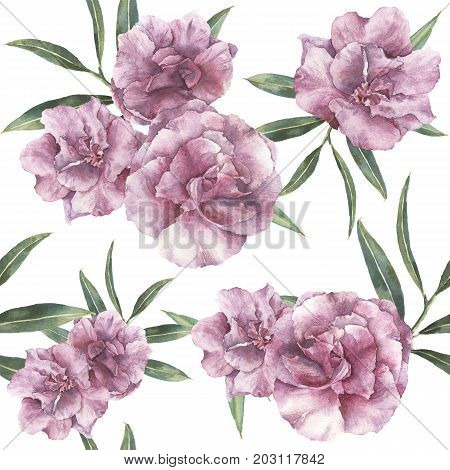 Watercolor seamless pattern with oleander. Hand painted oleander flowers with leaves and branch isolated on white background. Botanical ornament for design, print, fabric