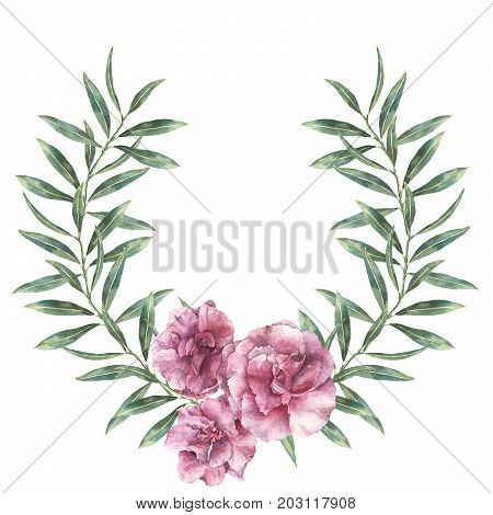 Watercolor floral border. Hand painted wreath with oleander flowers with leaves and branch isolated on white background. Botanical illustration for design, print, fabric